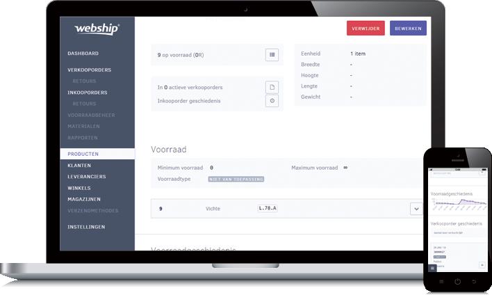 Voorraad webship online